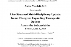2020/04, CME - Multi-Disciplinary Update: Game Changers: Expanding Therapeutic Options Across the Subspecialties (Wills Eye Hospital, Online)