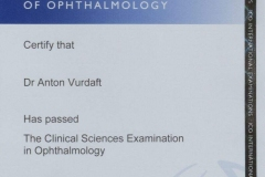 2015/04, Success in ICO Clinical Sciences in Ophthalmology written international examination (Zambia)