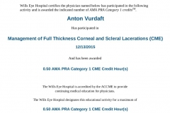 2015/12, CME - Management of Full-Thickness Corneal and Scleral Lacerations (Wills Eye Hospital, Online)