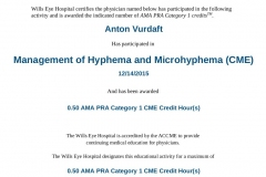 2015/12, CME - Management of Hyphema and Microhyphema (Wills Eye Hospital, Online)
