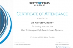 2015/06, Certificate of Training in YAG-Lasers Capsulotomy (Zambia)